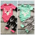 2-colors baby girls boutique infant long pants clothing cotton tutu mint hot pink reindeer print romper with matching pants set