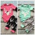 2-cores meninas do bebê boutique infantil longo calças de algodão clothing tutu hortelã rosa quente impressão renas romper com calças combinando conjunto
