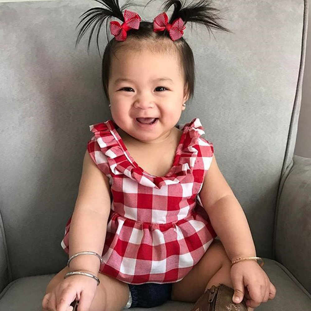Conjunto de ropa de bebé niña 2019 verano camiseta con falda escocesa + diadema corta de tela vaquera mono conjunto de ropa para bebé niña