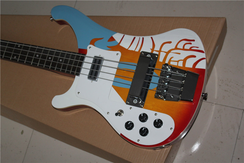 free shipping New Top Quality musical instrument Left Handed Custom Multi Color 4 Strings 4003 Rick Electric Bass Guitar 1117 2016 custom lp musical instrument electric guitar color selectable good tiger stripes ems free shipping