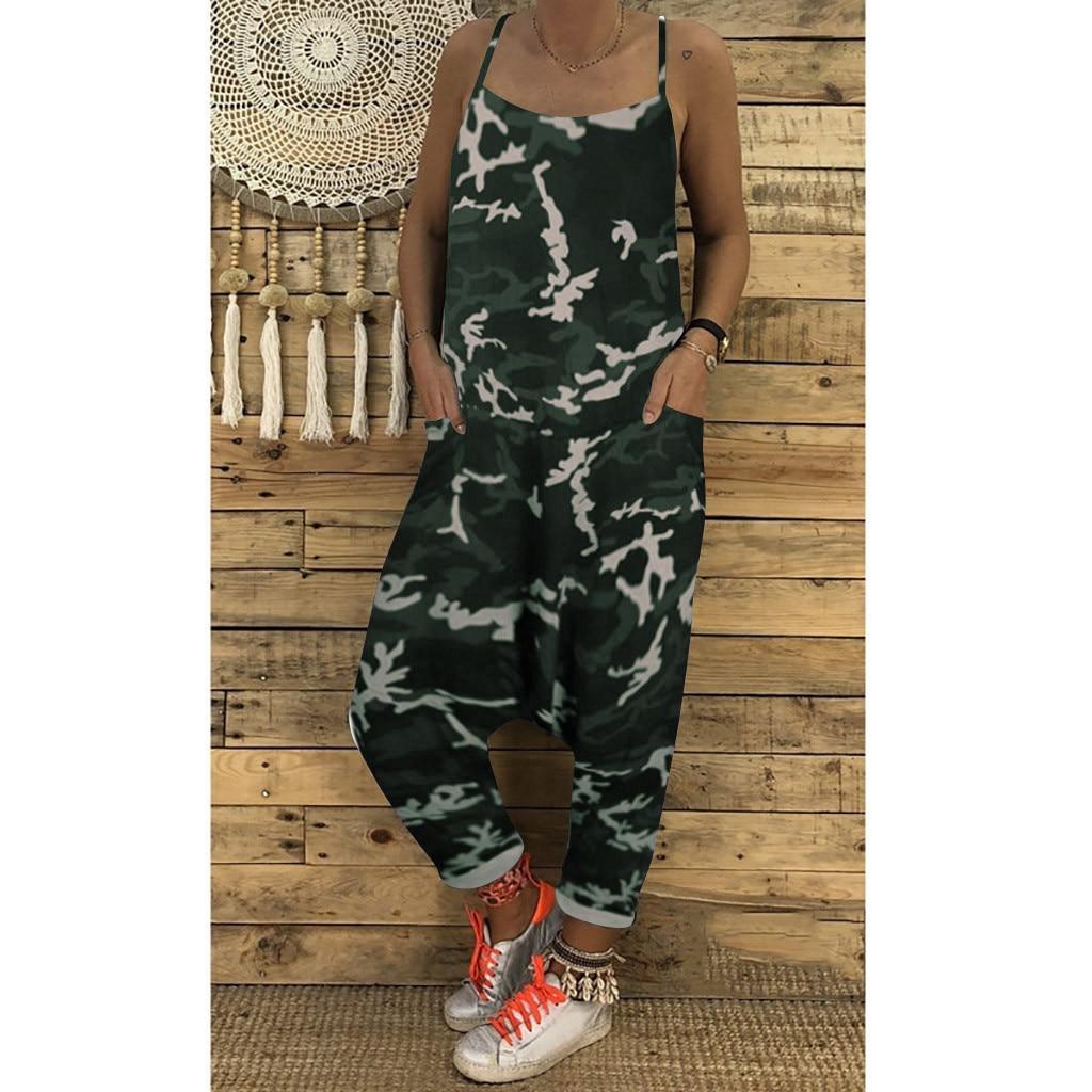 Women Summer Fashion Handsome Casual Print Camouflage Loose Jumpsuits Rompers V-neck Herem Pants Sport Slacks Vadim 50