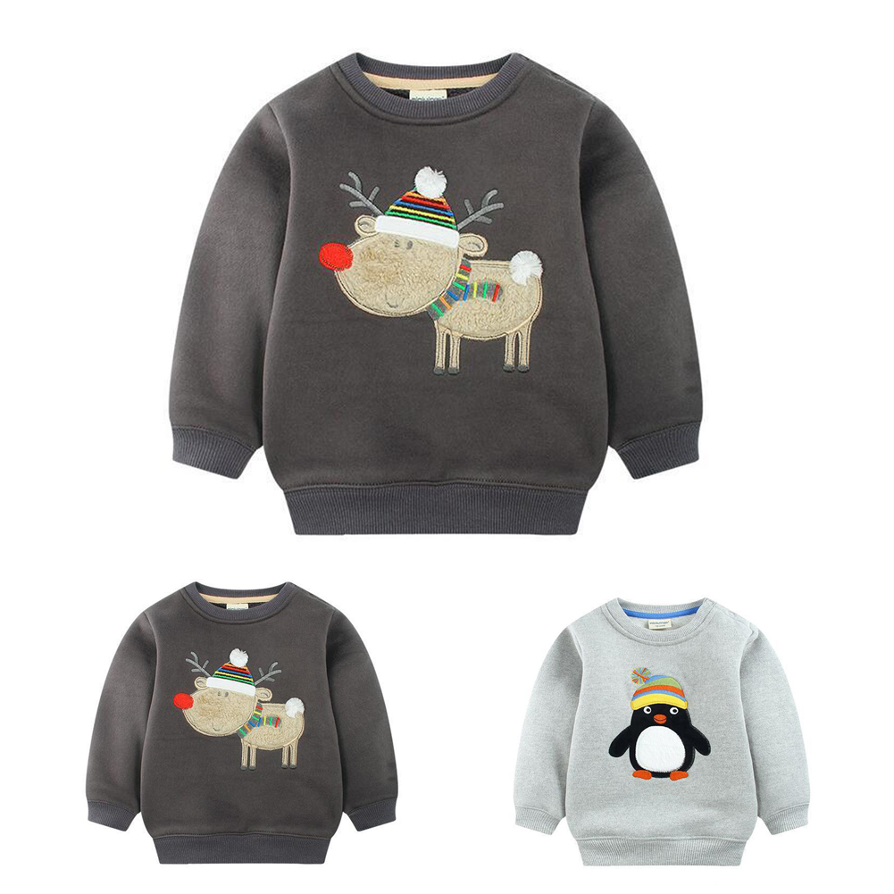 Kids Boys Autumn Cute Tops Cartoon Printed Casual Clothes Toddler Long Sleeve Fleece Boy Sweater Spring Clothing For Kids Boy