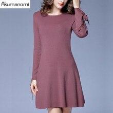 Осень-зима шерстяное вязаное платье с круглым вырезом и бантом манжеты длинный рукав черный, розовый женская одежда трапециевидной формы весеннее платье плюс Размеры 5XL 4XL-L