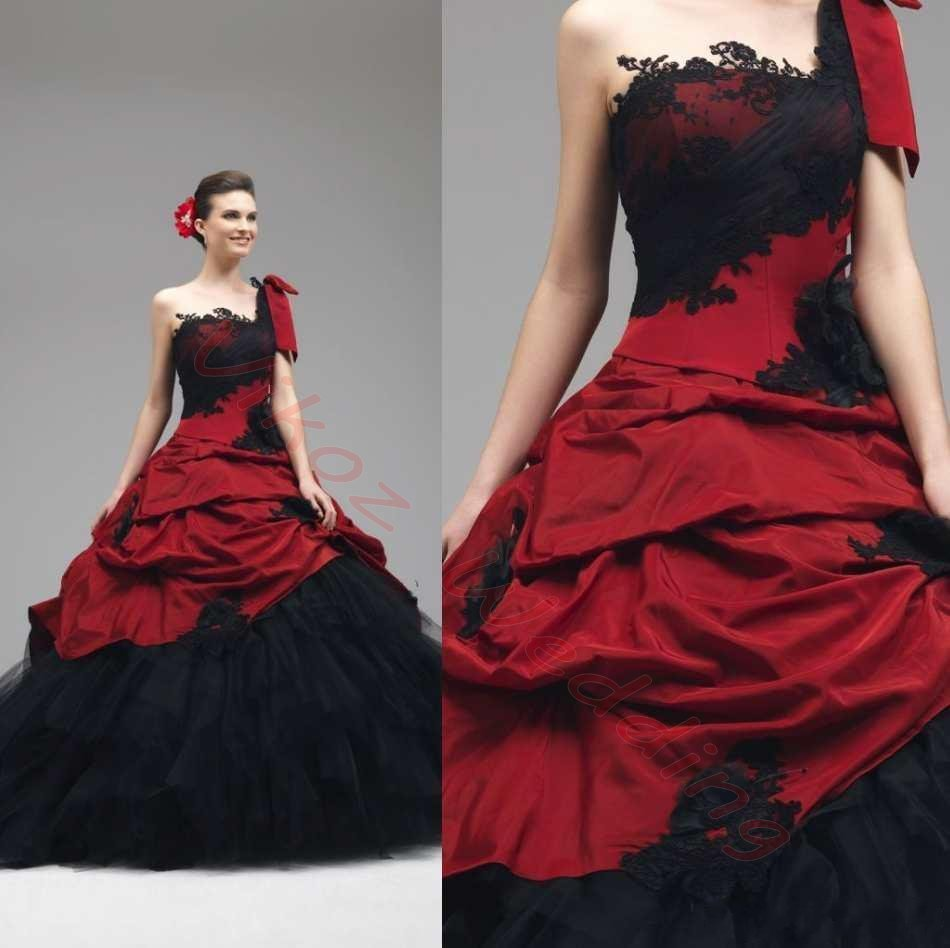 Gothic wedding shop - 2017 Gothic Red And Black Wedding Dresses Ball Gown One Shoulder Back Corset Cascading Ruffles Bridal Gowns Vintage Bridal Gown