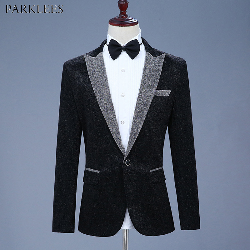 Black Elegant Glitter Blazer Jacket Men One Button Peaked Lapel Shiny Suit Blazer Men Club Party Prom Stage Clothes For Singers