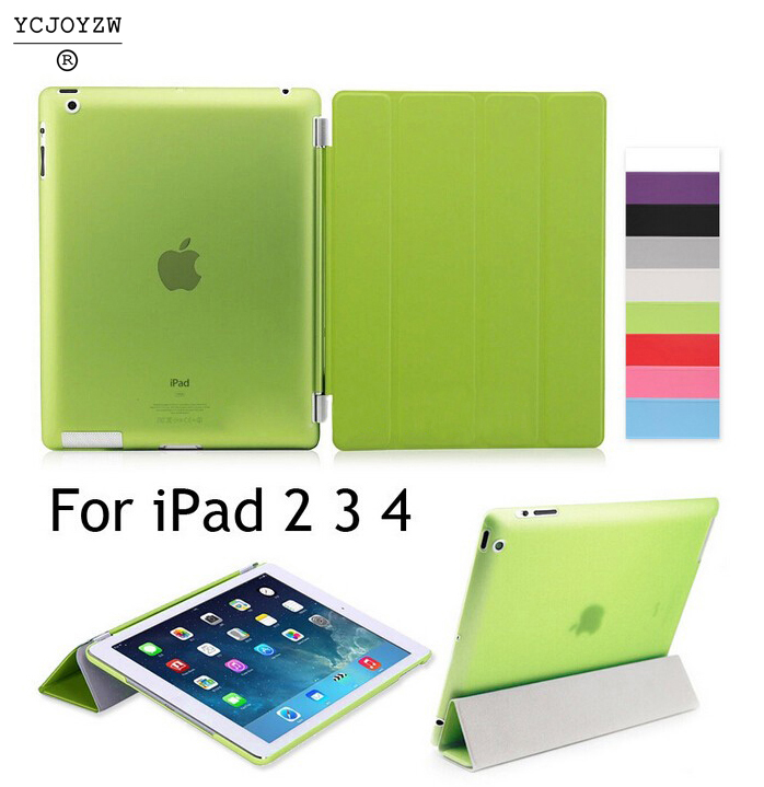 Case For Apple iPad 2 ipad 3 ipad 4 , YCJOYZW PU Leather Slim Magnetic Front Smart Cover Skin + Hard PC Back Wake up sleep case rygou smart cover for apple ipad air 2 ipad 6 pu leather magnetic front case hard back cover for ipad air 2 case tablet c