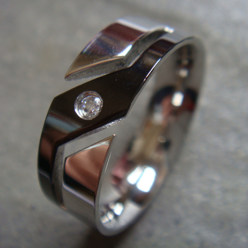 Hot! 1PC Fashion Silver Plated Stainless Steel Man CZ Crystal Finger Ring US SIZE 7, 8, 9, 10