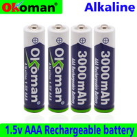 Okoman AAA Battery 3000mah 1.5V Alkaline AAA rechargeable battery for Remote Control Toy light Batery free shipping
