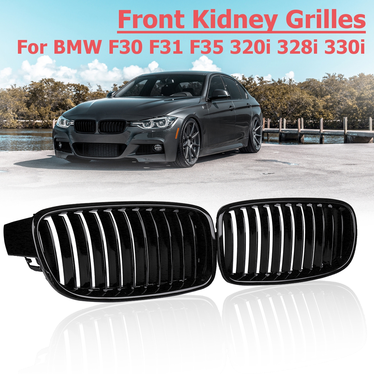 1 Pair Gloss Black Front Kidney <font><b>Grilles</b></font> Car Styling replacement Racing <font><b>Grilles</b></font> for BMW <font><b>F30</b></font> F31 F35 320i 2012 13 14 15 16 17 2018 image