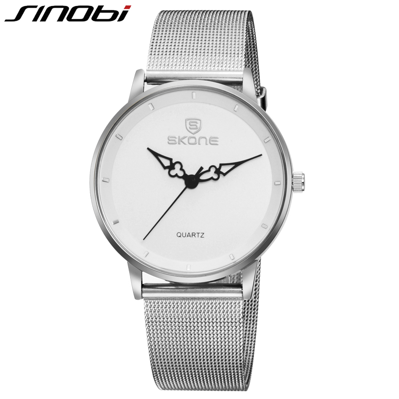 SKONE Ultra Thin Watches for Men Silver Stainless Steel Mesh Strap Watch Casual Reloj Hombre Business Relogio Masculino skone relogio 9385