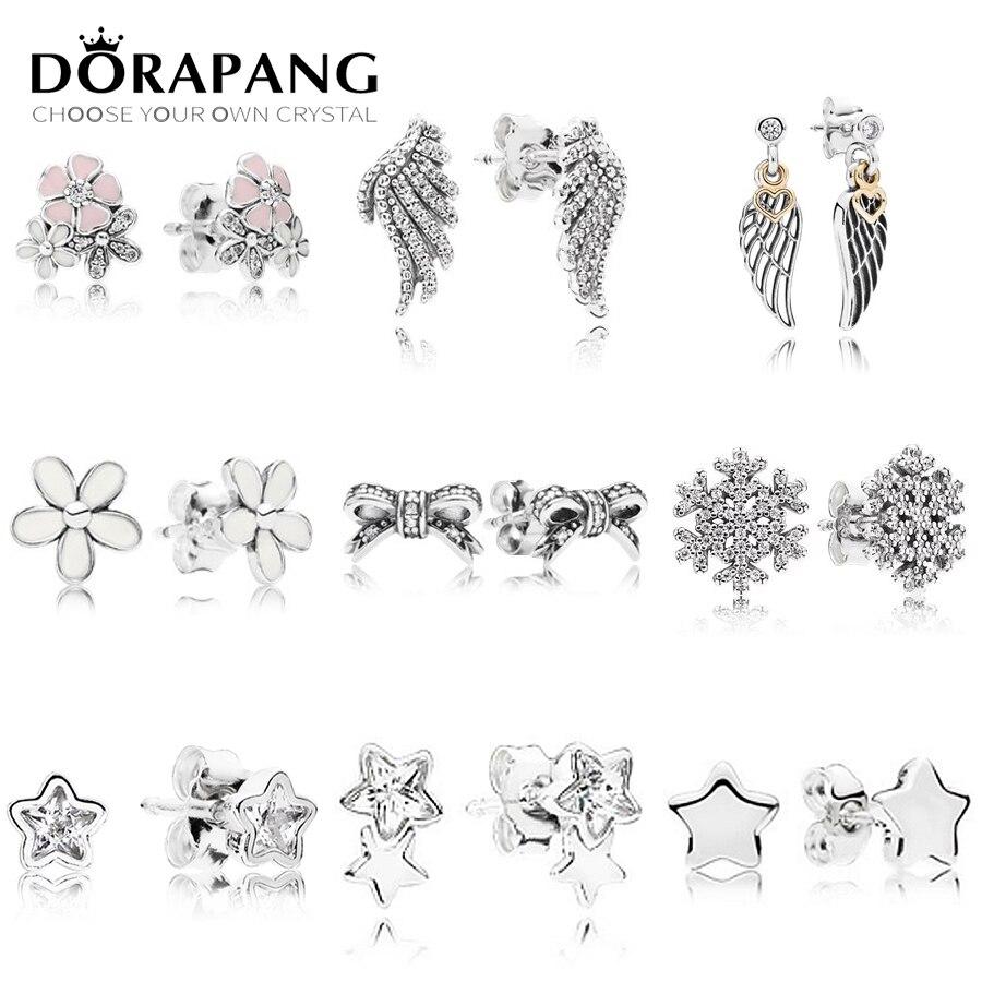 DORAPANG 925 Sterling Silver Poetic Cherry Blooms Flowers Earrings Star & Guidance Feather Stud Earrings Fit DIY Beads Making