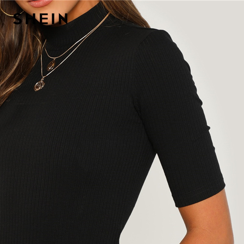 SHEIN Black Weekend Casual Mock Neck Rib Knit Tee Casual Round Neck Half Sleeve Regular Fit