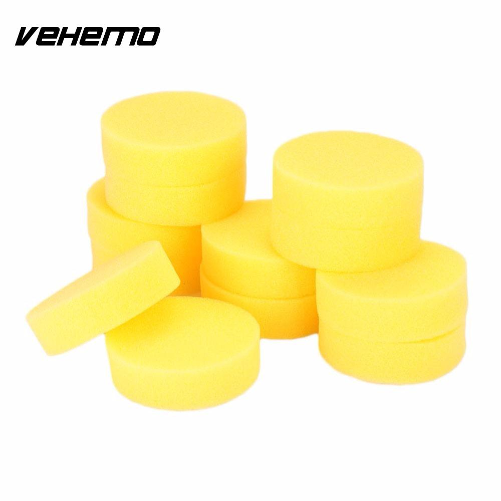 VEHEMO12Pcs Yellow Waxing Buffing Foam Sponge Pads For Clean Car Auto Home Used easily Stable property Durable Stretchy Soft ...