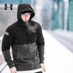 5ae7e4bfffb Hooded Jacket Black Outdoor Running Jacket Winter Men Zipper Sports Hoodie