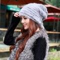 De outono inverno mulheres quente ao ar livre chapéus de malha cap chapéu de pele de vison real