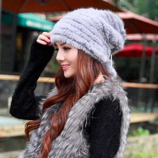 New arrival hot sale Russian style autumn winter outdoor warm women's hats Christmas design knitted real mink fur hat women cap