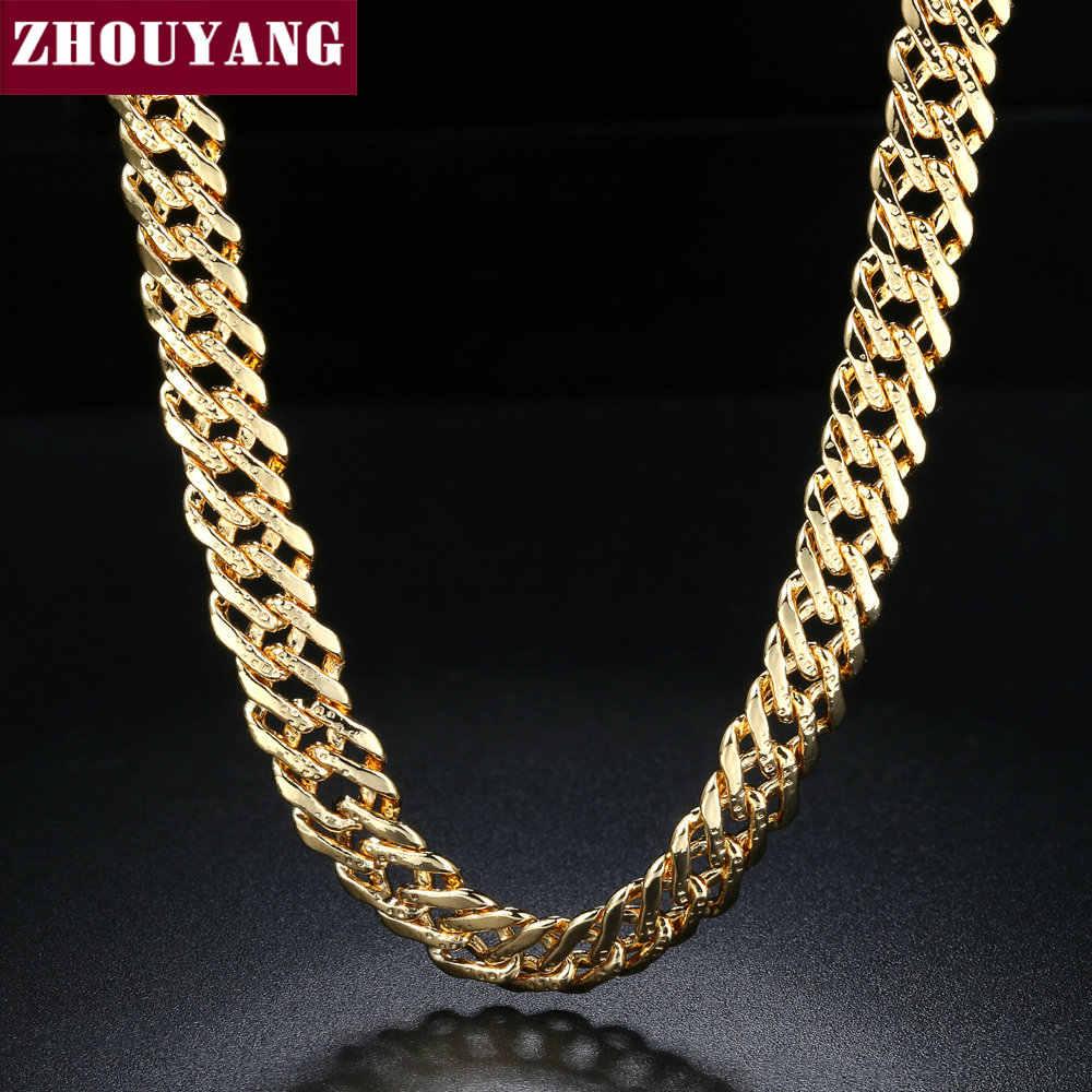 ZHOUYANG 56 センチメートルの長さのパンクスタイル YellowGold 色ロングネックレスファッションジュエリー男性女性のための ZYN058