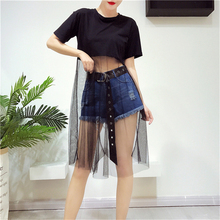 ФОТО hutobi summer korean splicing pleated tulle t shirt dress women big size black new fashion 2018 sexy patchwork mesh dress