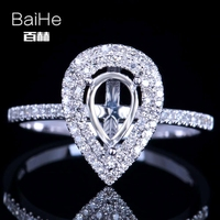 BAIHE Solid 14K White Gold Certified Pear Shape Engagement Women Cute/Romantic Fine Jewelry Elegant unique Semi Mount Gift Ring
