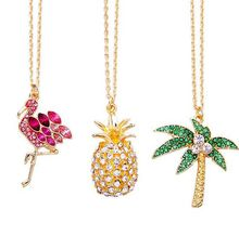 free shipping 6 pcs /lot Chic gold metal full rhinestone Flamingo Pineapple Akee palm tree Crystal Pendant Necklace(China)