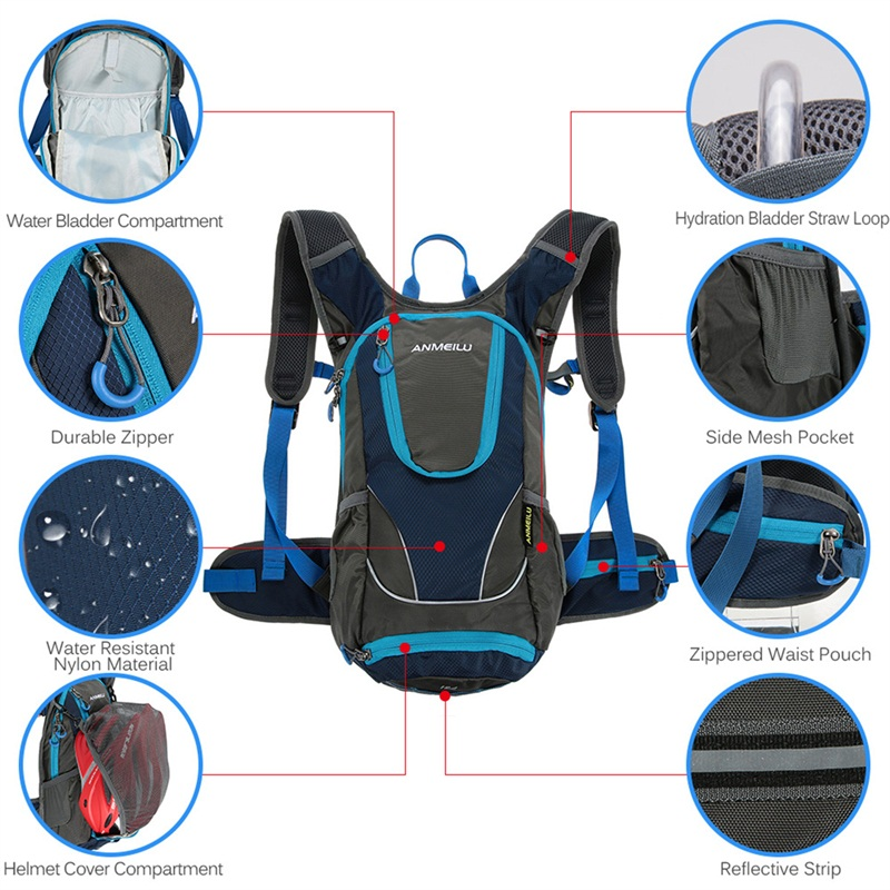a03148258cdf ANMEILU 12L Outdoor Waterproof Backpack Cycling Ultralight Hydration ...