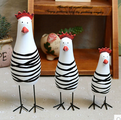 2015 hand painted wooden ornaments three chicken rustic home decor furnishings three striped chicken a - Painted Wood Home 2015