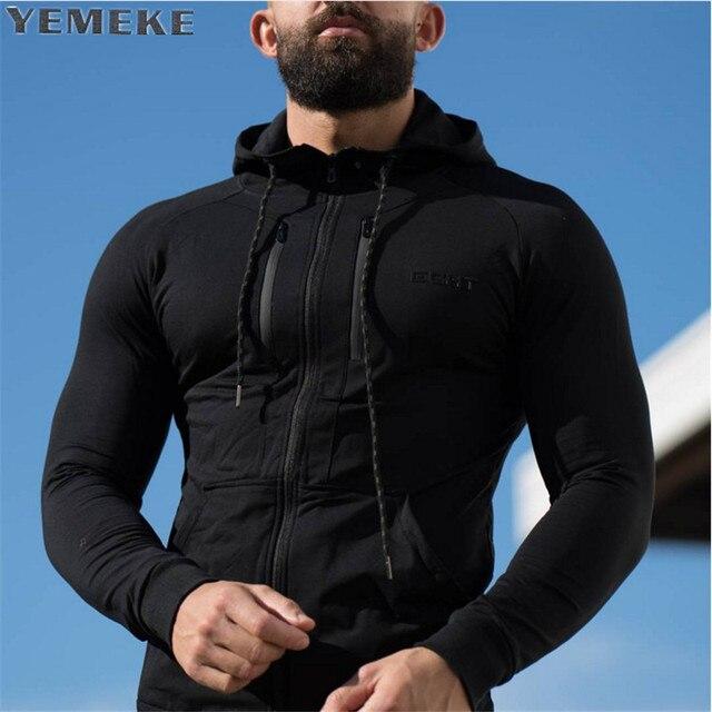 Yemeke Новый 2017 осень-зима модные толстовки с капюшоном Для мужчин двойной молнии Тонкий кофты Мужской Однотонная повседневная обувь куртка с капюшоном