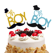 20pcs Oh Boy Little Man Cake Toppers Flags Kids Birthday Moustache Glitter Cupcake Topper Wedding Baby Shower Party Baking DIY