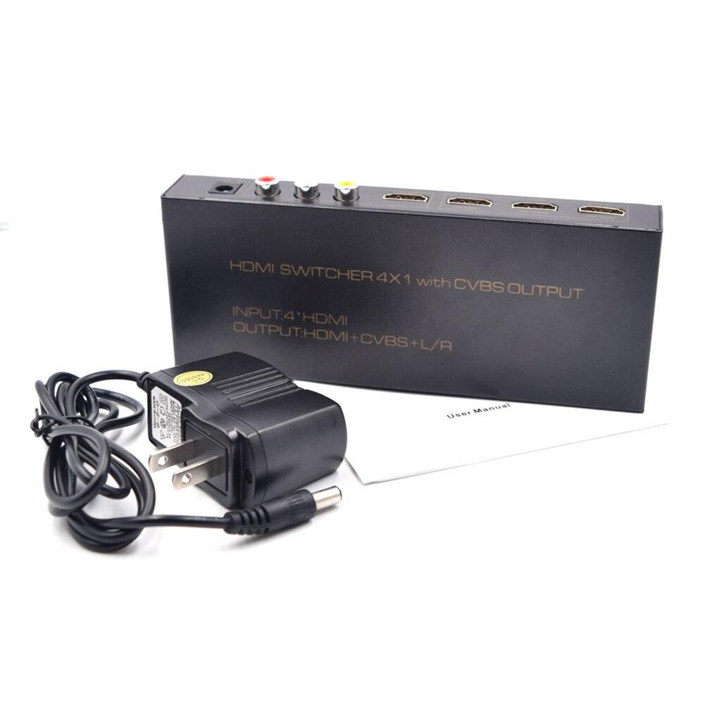 1080P 4X HDMI Input Splitter Switcher Converter Adapter with CVBS L/R Output HD Multiplexed Audio Video HDMI Converter US Plug