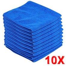 10 шт. микрофибра мойте чистые полотенца чистящие салфетки синий автомобиль мебель Чистящая тряпка мягкие ткани 30x30 см Прямая поставка