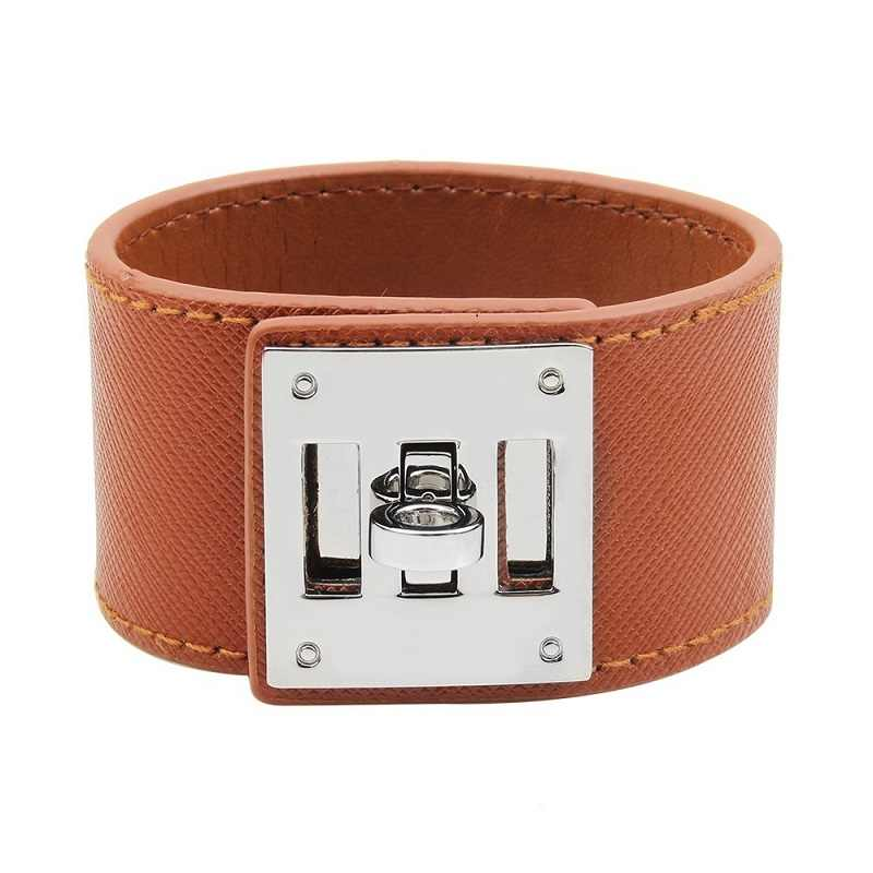 Fashion Punk Wide Women Leather Bracelets Trendy Charm Man Bracelets Bangles Cuff Chain Bangles Jewelry Hot Sale Wholesale