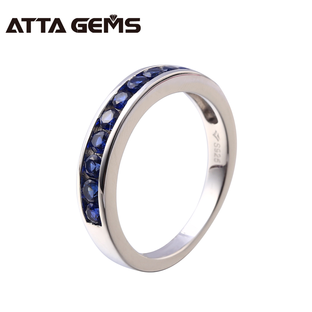 Created Blue Sapphire Sterling Silver Ring Unisex S925 Lover Ring Wedding Engagement Solid Silver Girlfriend Gifts Top Quality