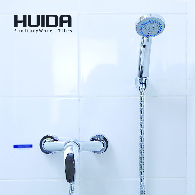 HUIDA bathroom shower faucet contemporary single handle shower system wall mounted chrome plated cold hot water mixerHDA0565L china sanitary ware chrome wall mount thermostatic water tap water saver thermostatic shower faucet