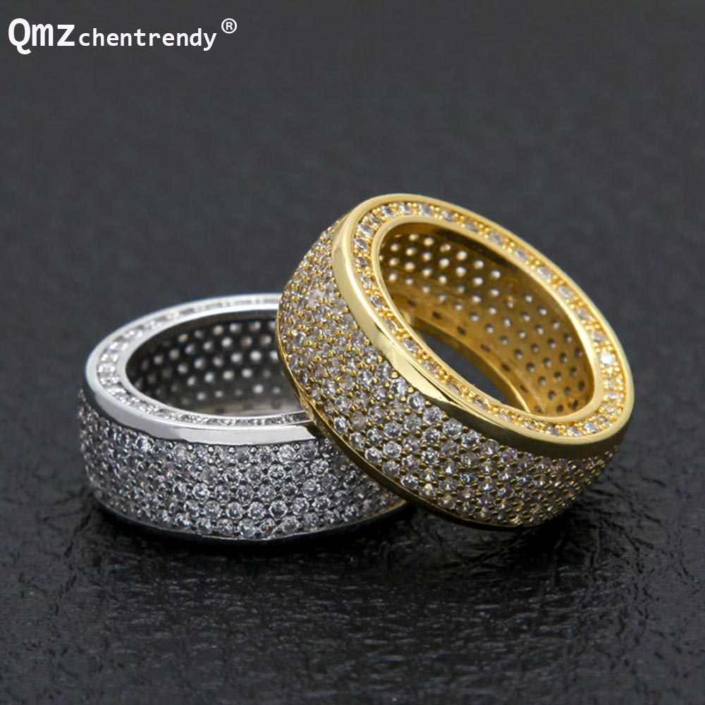 Hip hop Stainless Steel Cubic Zirconia Rings Iced Out High Quality Micro  Pave CZ Rings Women e003e4488c5e
