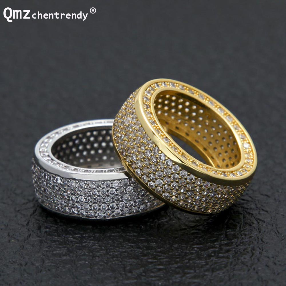 Hip hop Stainless Steel Cubic Zirconia Rings Iced Out High Quality Micro Pave CZ Rings Women & Men Gold Silver Finger Ring