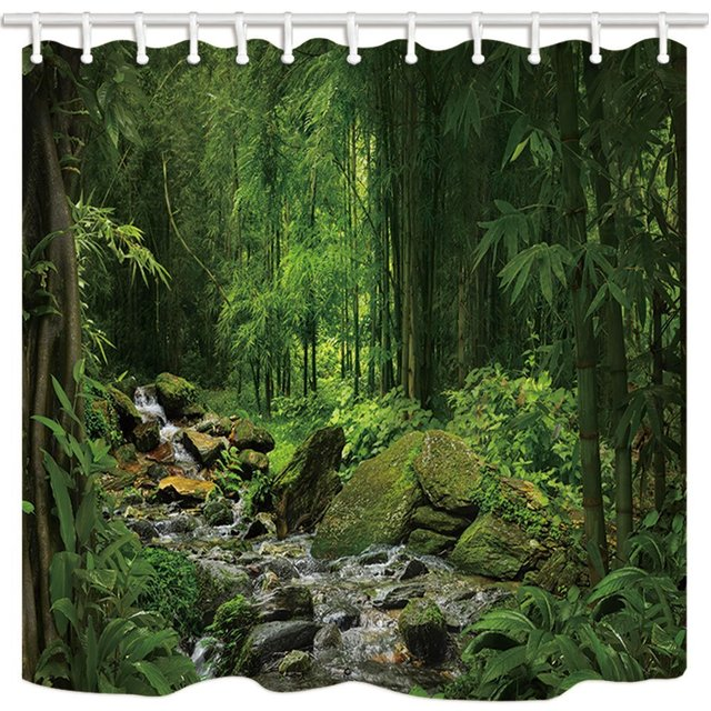 Summer Jungle Forest Shower Curtains For Bathroom Moss Stone In River With Green Tree Polyester Fabric