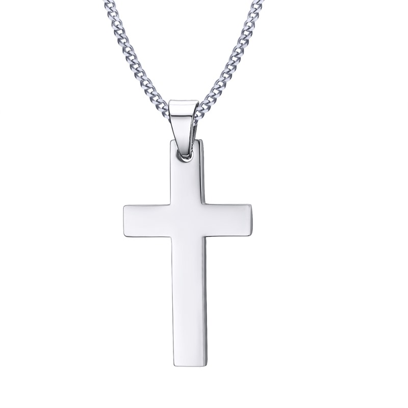 Mens cross pendant necklace stainless steel link chain necklace choose an option aloadofball Image collections