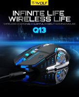 Wireless Rechargeable Gaming Mouse 2.4Ghz Mute 2400dpi 7 color Backlit Breathe Gamer Mice for Computer Desktop Laptop MAC OS Mice