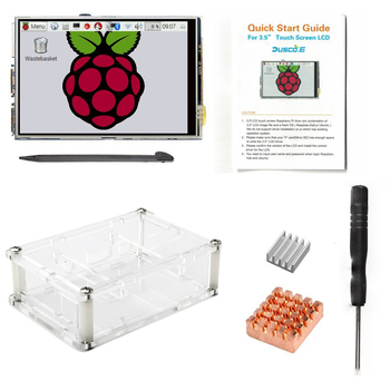 Hot sale 3.5 LCD TFT Touch Screen Display for Raspberry Pi 2 / Raspberry Pi 3 Model B Board + Acrylic Case +Stylus + Heatsink