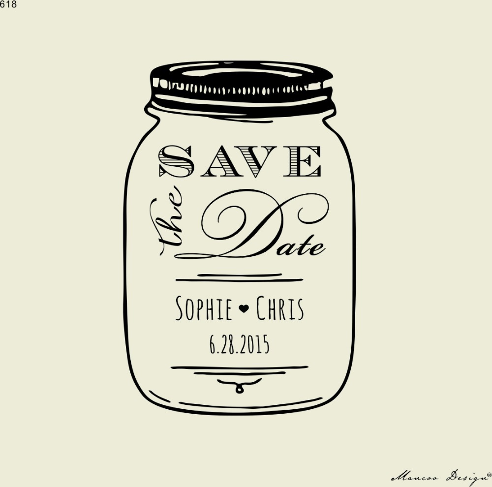 Free Shipping Mason Jar Save The Date Groom Names And Date Custom