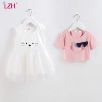 LZH 2017 Summer Baby Girl Dress Cute Cartoon Print Casual 2pcs Set Tutu Dress Baby Girls