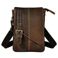 SIMLINE Vintage 100 Genuine Crazy Horse Leather Cowhide Men Small Messenger Shoulder Crossbody Bag Waist Bag