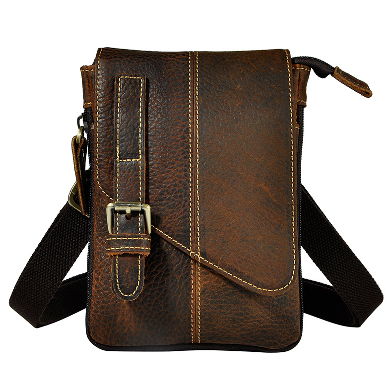 SIMLINE Vintage 100% Genuine Crazy Horse Leather Cowhide Men Small Messenger Shoulder Crossbody Bag Waist Bag Pack Bags For Man simline vintage casual crazy horse genuine leather real cowhide men men s travel backpack backpacks shoulder bag bags for man