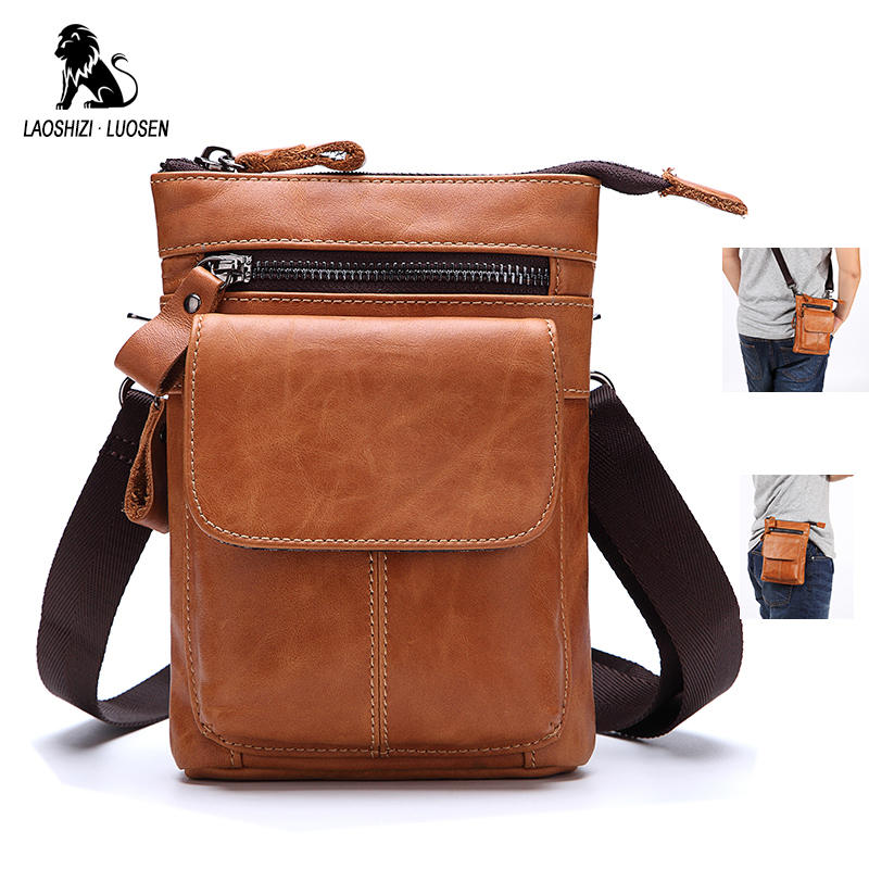 75e58461380b LAOSHIZI LUOSEN Fanny Pack Men Oil Wax Genuine Leather Waist Bag Phone Bag  Belt Fashion Brands Multifunction with Shoulder Strap