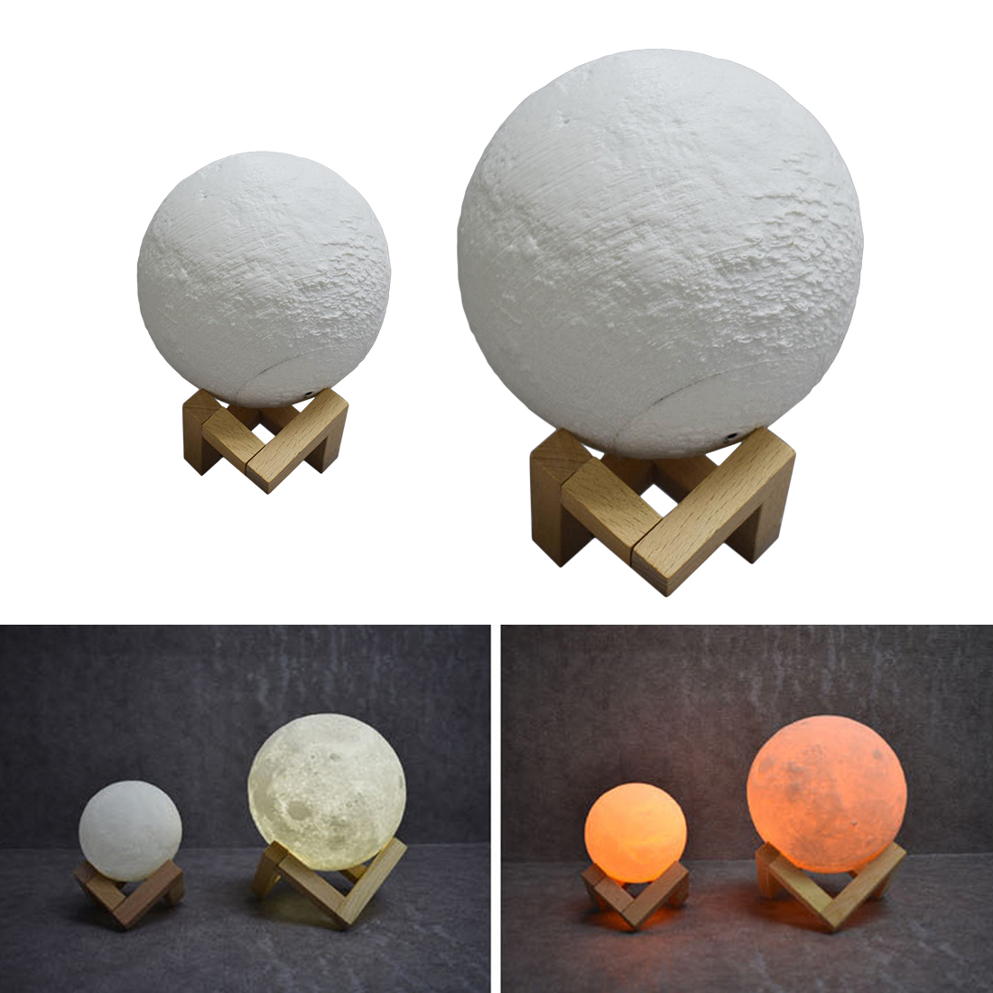Amazing 3D Print Moon Lamp USB LED Night Light Moonlight Gift Touch Sensor Color Changing Night Lamp Bedroom Decor 8 20cm 3d print led magical full moon night light touch sensor desk moon lamp usb christmas gift color changing lunar light