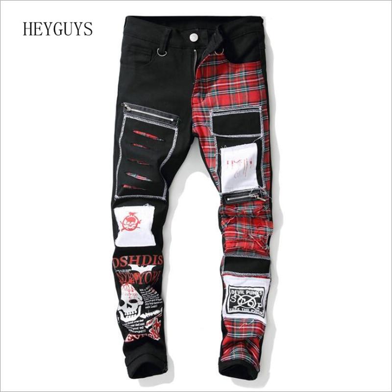 NAGRI 2020 New Men's Skull Printed Scottish Plaid Patchwork Jeans Trendy Patches Design Black Ripped Distressed Denim Long Pants