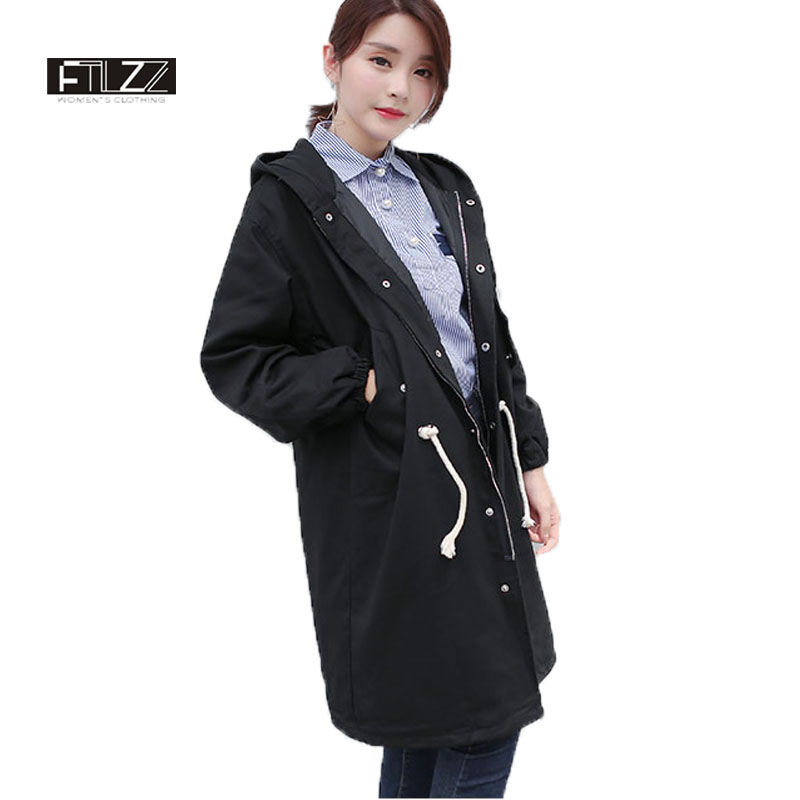 New 2018 Women Coats Mujer Spring Autumn Female Casual Slim Hooded Black Medium Long Trench Coat Casaco Feminino Overcoat Mujer