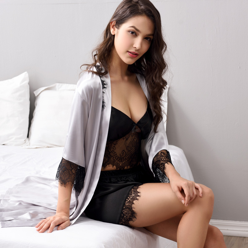 Pajamas Sets Sexy Lace Silk Sleepwear Women Three Piece Pyjama Shorts Set Soft Satin Silk Sleepwear kigurumi X3702