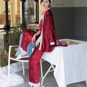 Image 2 - Fdfklak חדש סתיו חורף פיג נשים ארוך שרוול קטיפה חם הלבשת נשים פיג מה סט מתוק תחרה nightwear פיג מות