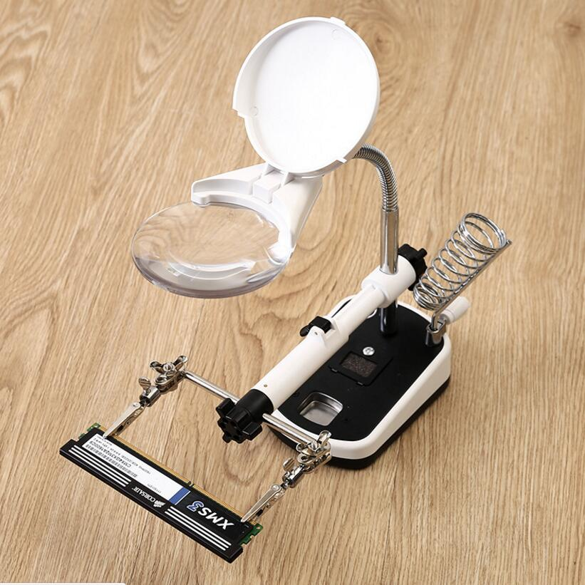 цена на 3.5X 10X Table Lamp Style LED Illuminated Desk-top Welding Magnifier Cell Phone Circuit Board Repair Magnifying Glass 110V-220V